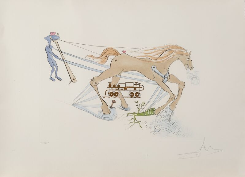 Salvador Dalí, 'Le frien hydraulique, from Hommage a Leonardo da Vinci', 1975, Print, Engraving with pochoir in colors on Arches paper, Heritage Auctions