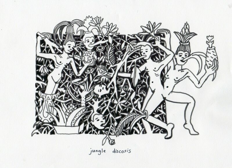 Marlene Steyn, 'Jungle Discosis', 2015, Drawing, Collage or other Work on Paper, Pen on paper, Lychee One