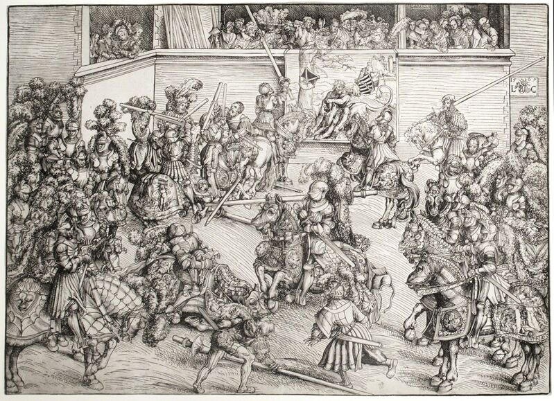 Lucas Cranach the Elder, 'The Second Tournament with the Tapestry of Samson and the Lion', 1508, Print, Woodcut, R. S. Johnson Fine Art