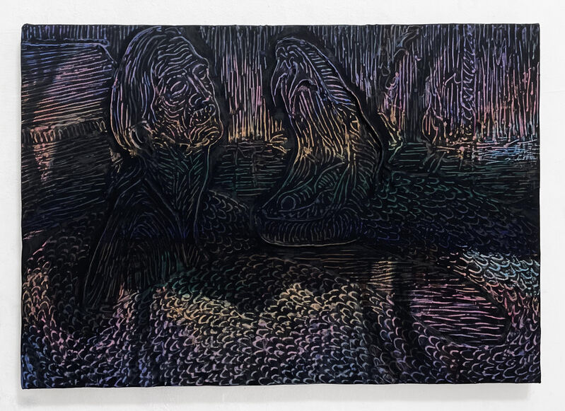 Ernesto Renda, 'Anaconda', 2021, Painting, Wax Pastel Rubbing on Canvas over Resin Relief, ARTNOIR Benefit Auction