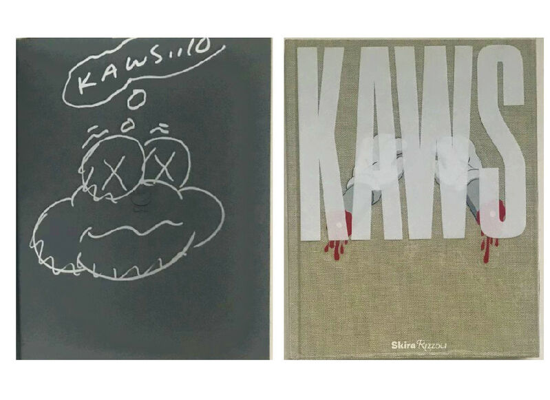 """KAWS, '""""KAWS...10"""", Signed & Dated Cloud Drawing (first page), Exhibition Catalogue Aldrich Museum', 2010, Drawing, Collage or other Work on Paper, Cloth hardcover, clear plastic dust jacket, paper., VINCE fine arts/ephemera"""