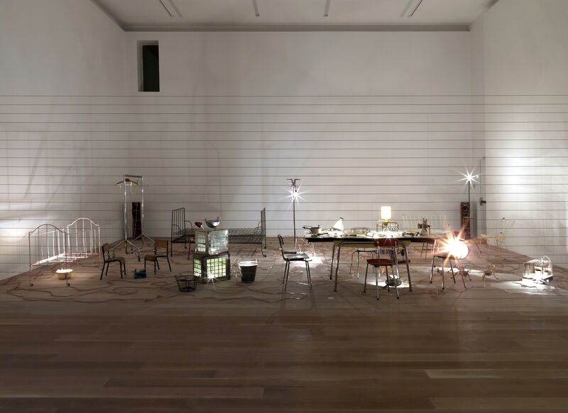 Mona Hatoum, 'Homebound', 2000, Installation, Kitchen utensils, furniture, electrical wire, light bulbs, dimmer unit, amplifier and two speakers, dimensions variable, Tate
