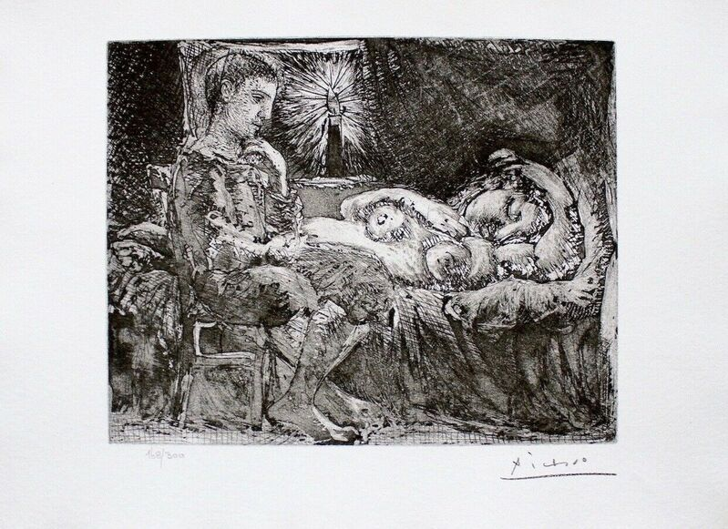 Pablo Picasso, 'Boy Watching Over Sleeping Woman by Candlelight', 1990, Reproduction, Lithograph on wove paper, Art Commerce