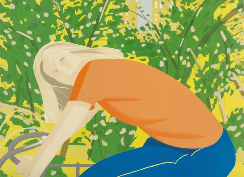 Alex Katz, 'Bicycling in Central Park', 1983, Print, Lithograph in colors on paper, Heritage Auctions