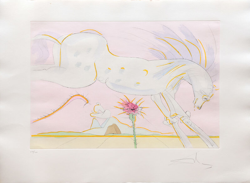 Salvador Dalí, 'Le Cheval et le Loup. (The Horse and the Wolf.)', 1974, Print, Drypoint etching on Arches paper with hand colouring by pochoir, Peter Harrington Gallery