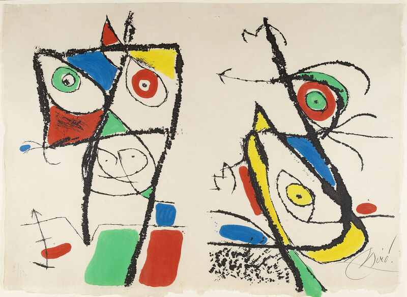 Joan Miró, 'Le Courtisan Grotesque: Plate X', 1974, Print, Etching with aquatint printed in colours, 1974., Sims Reed Gallery