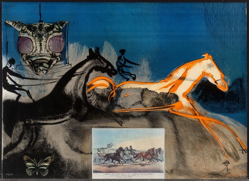 Salvador Dalí, 'American Trotting Horses #2, from Currier & Ives as Interpreted by Salvador Dali', 1971, Print, Lithograph with collage in colors on Arches paper, Heritage Auctions