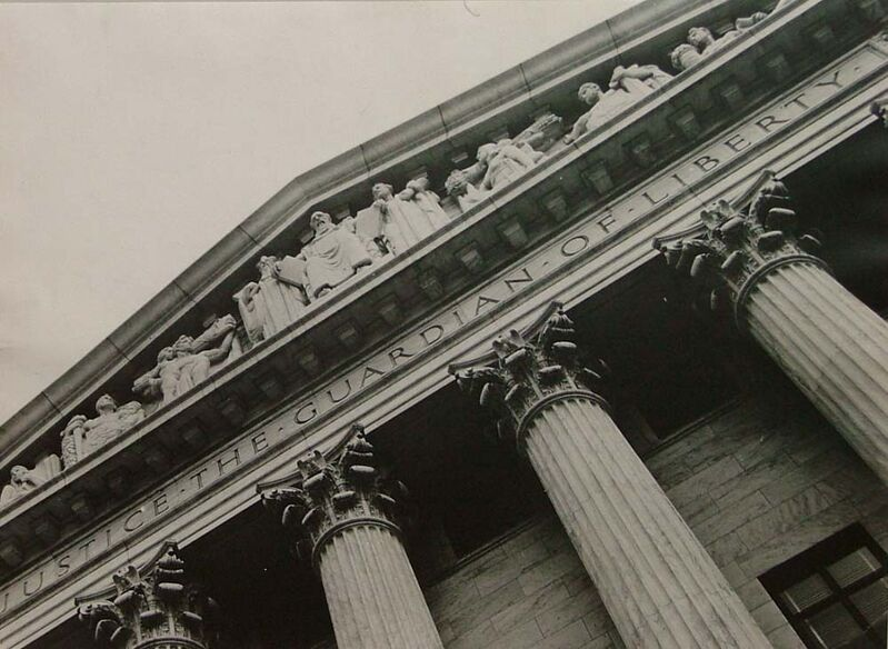 Margaret Bourke-White, 'View of Columns and Sculpted Frieze, Entrace of US Supreme Court Building', 1937, Photography, Vintage Silver Gelatin Print, Contessa Gallery