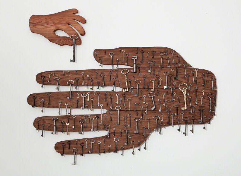 Memed Erdener a.k.a. Extrastruggle, '1915 (Dedicated to all Armenians living in Turkey)', 2012, Installation, Cedar hands and old keys, Zilberman Gallery