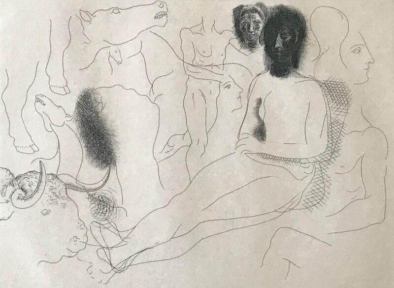 Pablo Picasso, 'Nu assis entouré d'esquisses de bêtes et d'hommes, pl. 10, from Le Chef-d Œuvre Inconnu', 1927, Print, Etching on Van Gelder paper, Jason McCoy Gallery