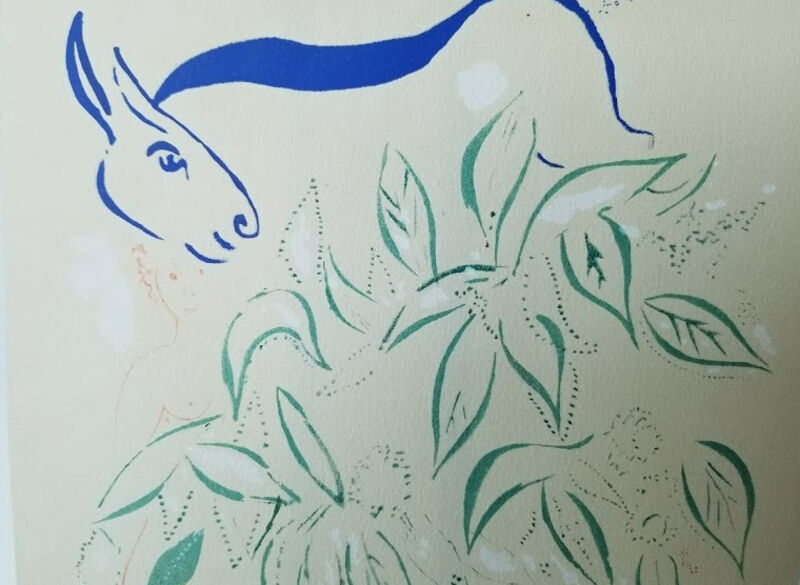 Marc Chagall, 'Couple with a blue donkey', ca. 1945, Drawing, Collage or other Work on Paper, Lithograph and stencil on vellum paper, Level1 Gallery