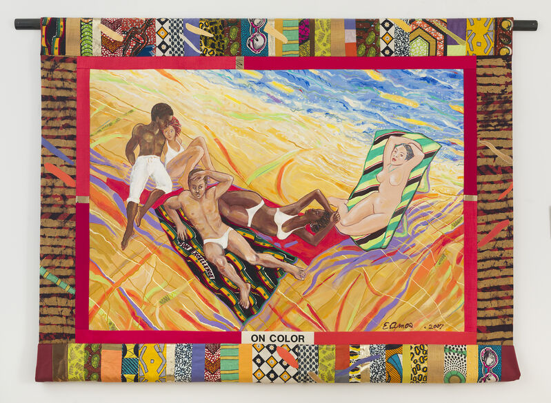 Emma Amos, 'On Color', 2007, Painting, Acrylic on canvas with African fabric borders and fabric collage, RYAN LEE