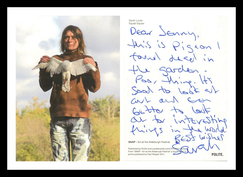 """Sarah Lucas, '""""It's good to look at art and better to look out for interesting things in the world...""""', 2011, Drawing, Collage or other Work on Paper, Original Handwritten letter on an offset lithograph. Hand signed. Unframed., Alpha 137 Gallery"""