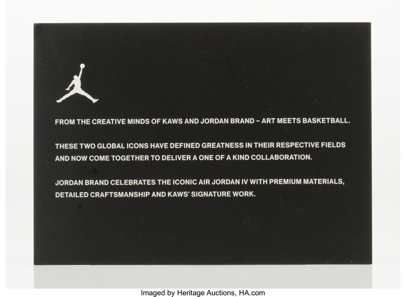 KAWS, 'Air Jordan 4', 2017, Other, Black sneakers with glow in the dark soles, size 11, Heritage Auctions