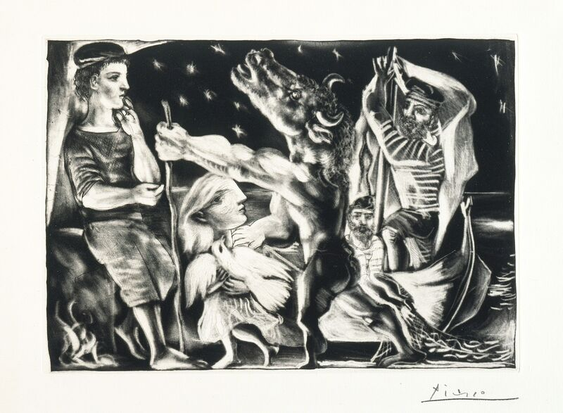 Pablo Picasso, 'Blind Minotaur Led through the Night by Girl with Fluttering Dove', 1934, Print, Burnished aquatint, Los Angeles County Museum of Art