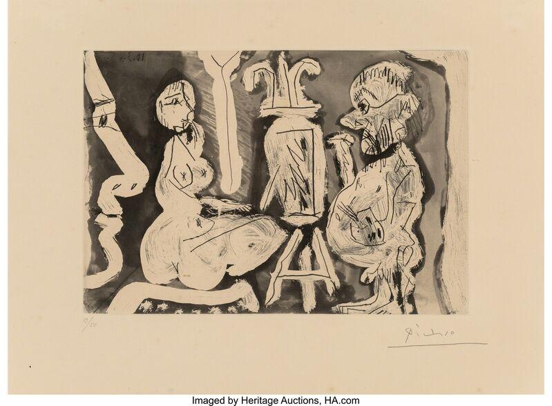 Pablo Picasso, 'Peintre et modèle avec un spectateur', 1965, Print, Aquatint and etching on paper, with full margins, Heritage Auctions