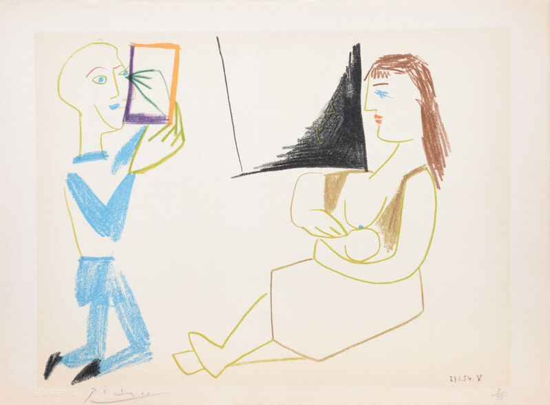 Pablo Picasso, '(Man with Mirror and Woman with Child.) Untitled from Suite de 15 dessins de Picasso. ', 1954, Print, Lithograph in colours on Arches wove paper, all edges untrimmed, Peter Harrington Gallery