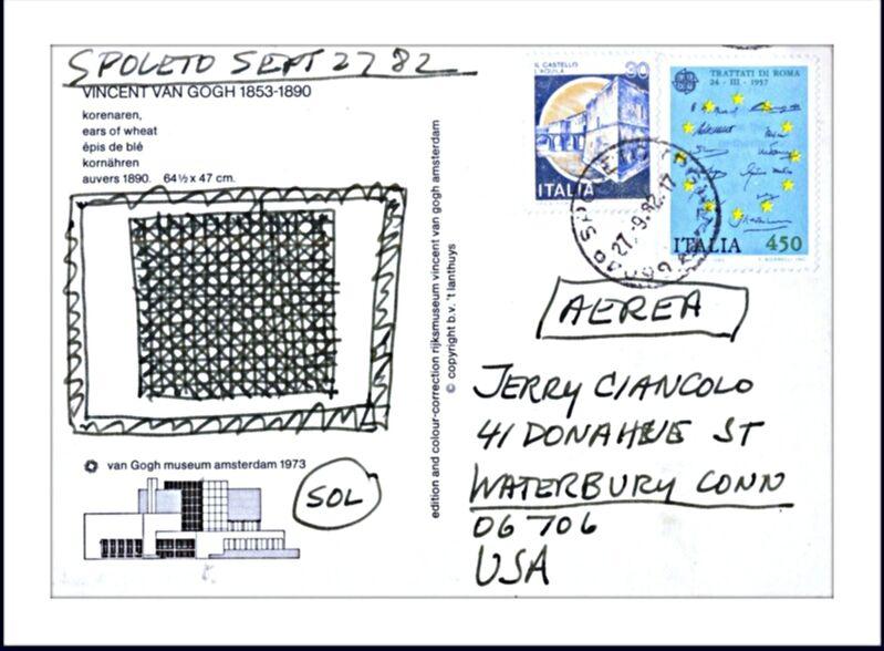 Sol LeWitt, 'Original ink drawing', 1982, Drawing, Collage or other Work on Paper, Original drawing done on postcard from the Van Gogh Museum (Amsterdam), mailed, stamped and postmarked (franked) from Spoleto Italy. Hand signed. Dated and addressed to well known Lewitt friend/collector. Framed., Alpha 137 Gallery