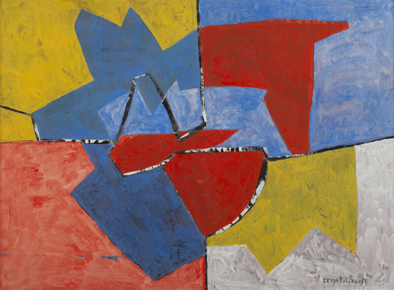 Serge Poliakoff, 'Composition 52-46', 1952, Drawing, Collage or other Work on Paper, Goauche on paper, HELENE BAILLY GALLERY