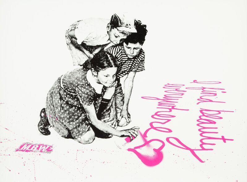 Mr. Brainwash, 'I Find Beauty Everywhere (Pink)', 2010, Print, Screenprint in colors with hand embellishments on Archival Art paper, Heritage Auctions