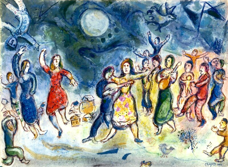 Marc Chagall, 'Fête au Village', 1969, Painting, Gouache and crayon on Japon paper, Stern Pissarro Gallery