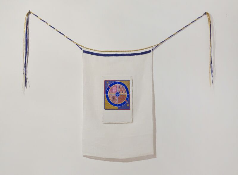 Magda Delgado, 'Spinning the Cosmos from Breviary d'Amor after Matfré Ermengau', 2017, Installation, Egg hardening Sennelier and lacquer on gypsum applied on linen, embroidered with cotton and synthetic thread, NO·NO