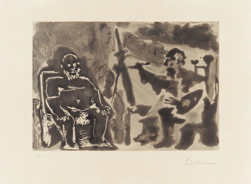 Pablo Picasso, 'Peintre avec modèle barbu assis sur une chaise', 1963, Print, Aquatint and etching on Richard de Bas, Van Ham