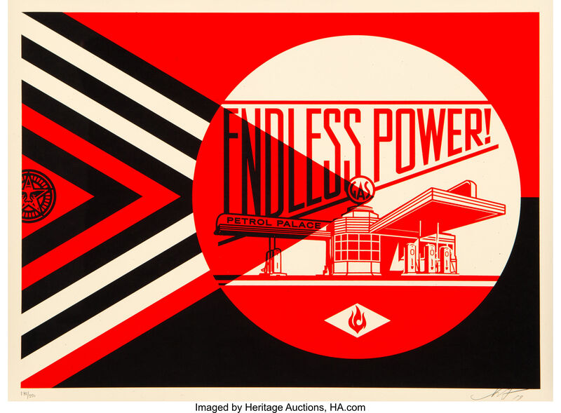 Shepard Fairey, 'Endless Power Petrol Place - Red', 2019, Print, Screen Print on Cream Speckletone, Gallery Auximenes