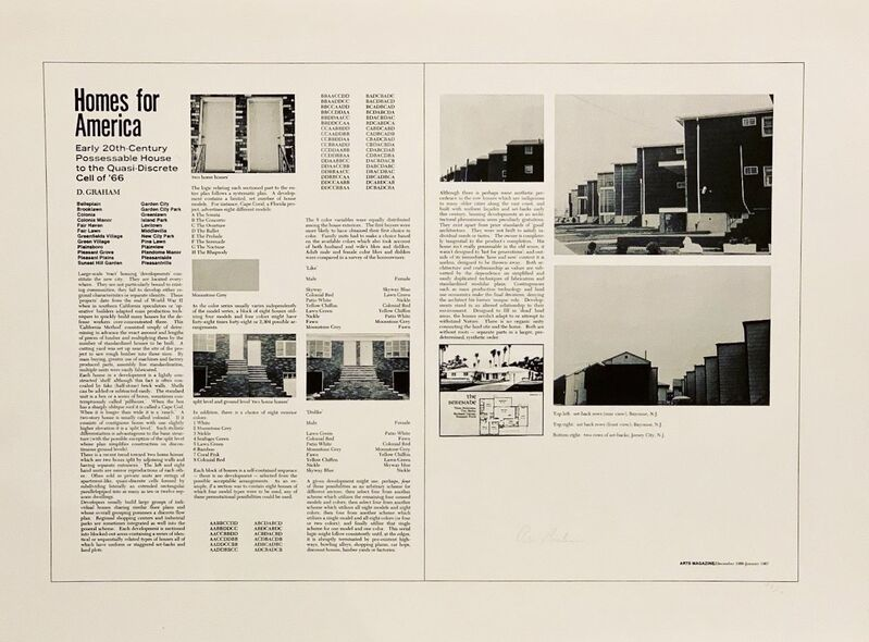 Dan Graham, 'Homes for America', 1971, Print, Lithograph printed on cream white Arches paper, World House Editions