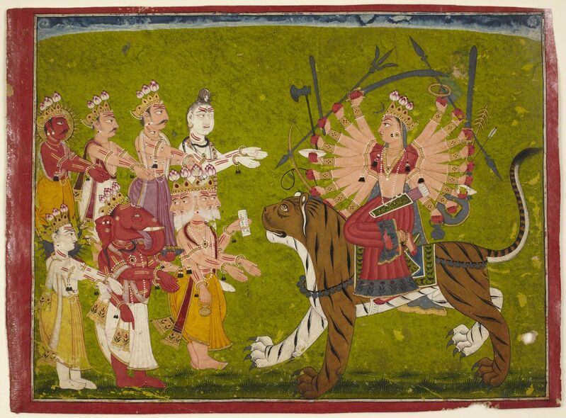 'The Goddess Durga on a Lion from the Devi Mahatmya', 18th century, Drawing, Collage or other Work on Paper, Opaque watercolor on paper, Princeton University Art Museum