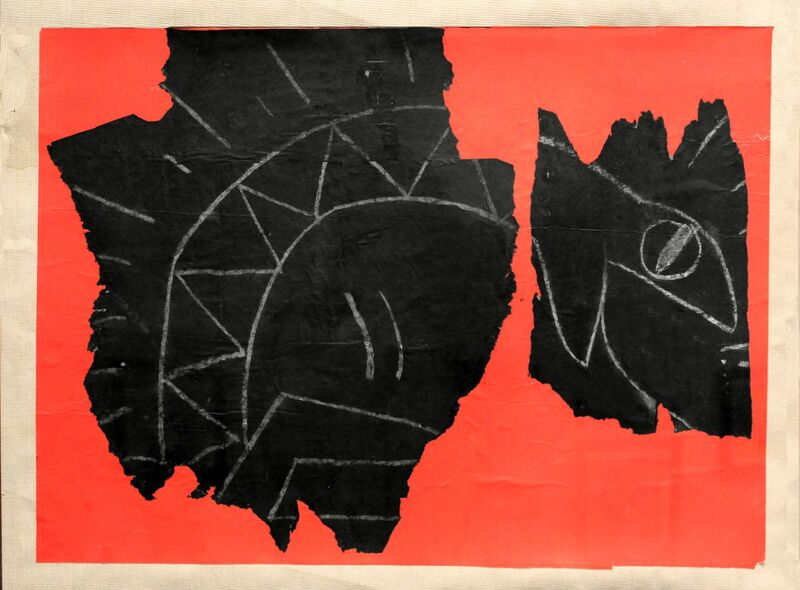 Keith Haring, 'Untitled (Serpent)', 1982, Drawing, Collage or other Work on Paper, Original subway chalk drawing, paper mounted on stretched linen, Taglialatella Galleries