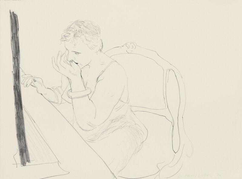 David Hockney, 'CELIA ADJUSTING HER EYELASH', 1979, Print, Lithograph, Edward T. Pollack Fine Arts