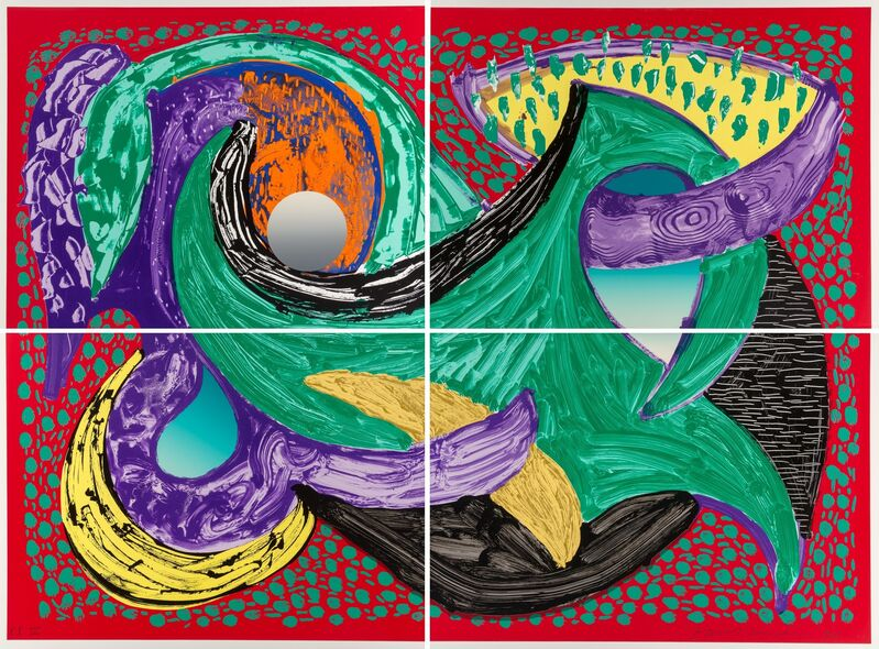 David Hockney, 'Going Round, from Some More New Prints', 1993, Print, Lithograph and screenprint in colors on Arches 88 paper, in four sheets, Heritage Auctions