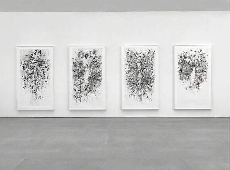 Julie Mehretu, 'Myriads, Only By Dark', 2014, Print, 4 panel, multi-colored aquatint and spit bite, Berggruen Gallery