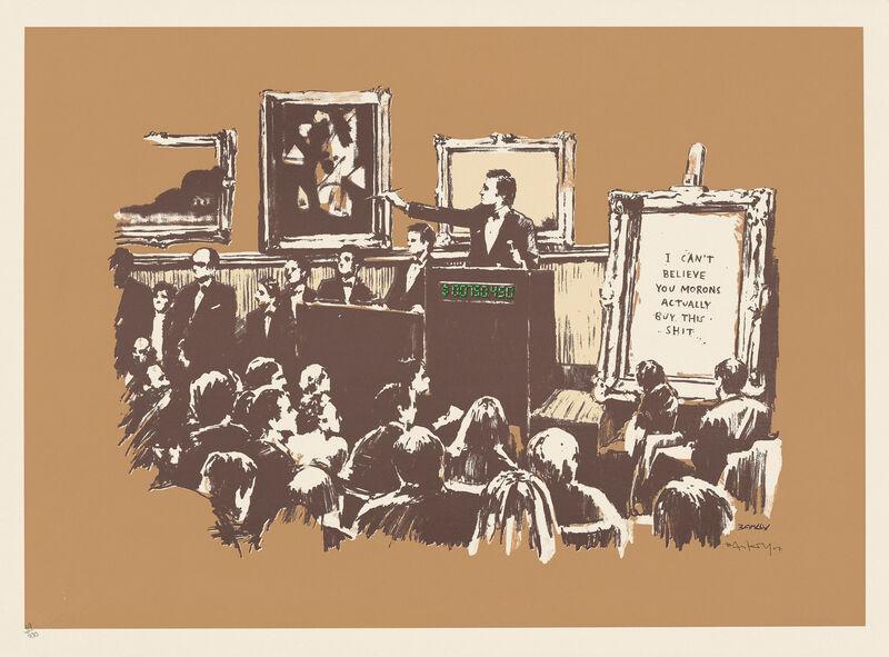 Banksy, 'Morons (Sepia)', 2007, Print, Screenprint, Tram Collective