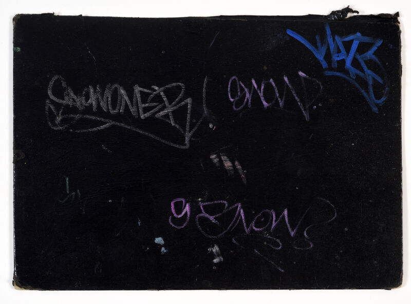 KAWS, 'PAGE FROM AN AMERICAN ARTIST'S BLACKBOOK', CIRCA 1993 – 1995, Drawing, Collage or other Work on Paper, Ink, marker, felt pen and pen on paper, blackbook cover, DIGARD AUCTION
