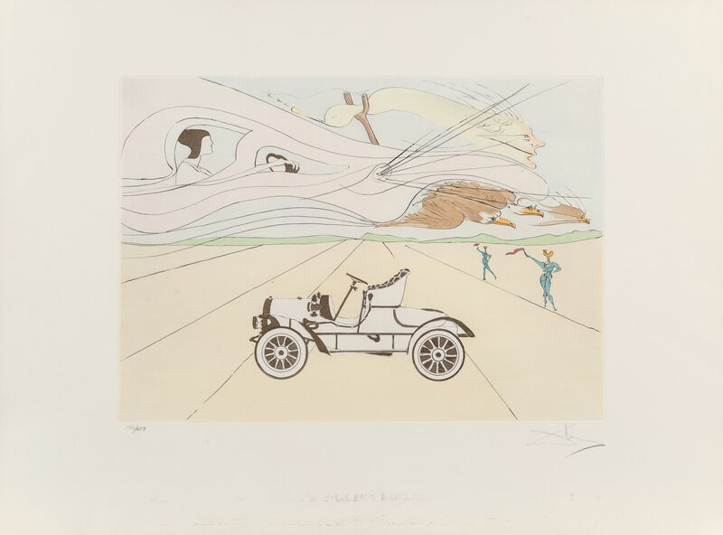 Salvador Dalí, 'L'authomobile, from Hommage a Leonardo da Vinci', 1975, Print, Engraving with pochoir in colors on Arches paper, Heritage Auctions