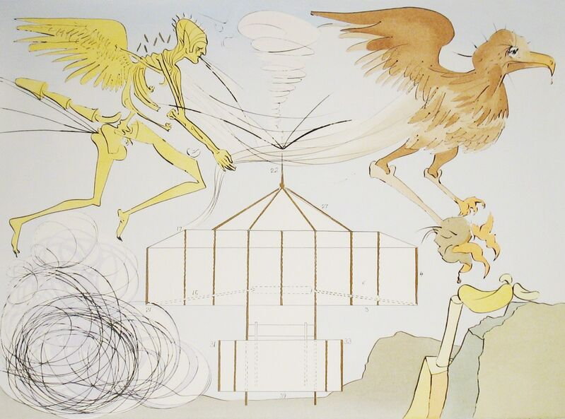 Salvador Dalí, 'Airplane', 1975, Print, Drypoint engraving with stenciled color, DTR Modern Galleries