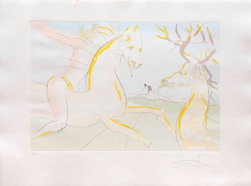Salvador Dalí, 'Le cheval s'étant voulu venger du cerf. (The Horse that Wanted Revenge on the Stag.)', 1974, Print, Drypoint etching on Arches paper with hand colouring by pochoir, Peter Harrington Gallery