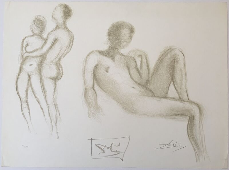 Salvador Dalí, 'Couples nus (Nude couple)', 1970, Print, Lithograph in sepia on Rives BFK, Puccio Fine Art