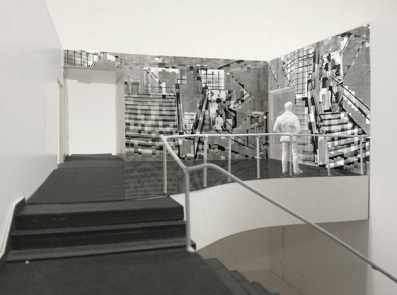 Katharina Gaenssler, 'Model for Bauhaus Staircase', 2015, Installation, Laser prints and wall paper paste, The Museum of Modern Art
