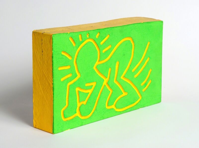 Keith Haring, 'Untitled (Crawling Radiant Child)', 1983, Painting, Green & yellow fluorescent paint on carved wood, Artificial Gallery