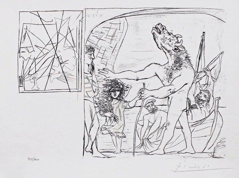 Pablo Picasso, 'Blind Minotaur led by Girl w/Flowers', 1990, Reproduction, Lithograph on wove paper, Art Commerce