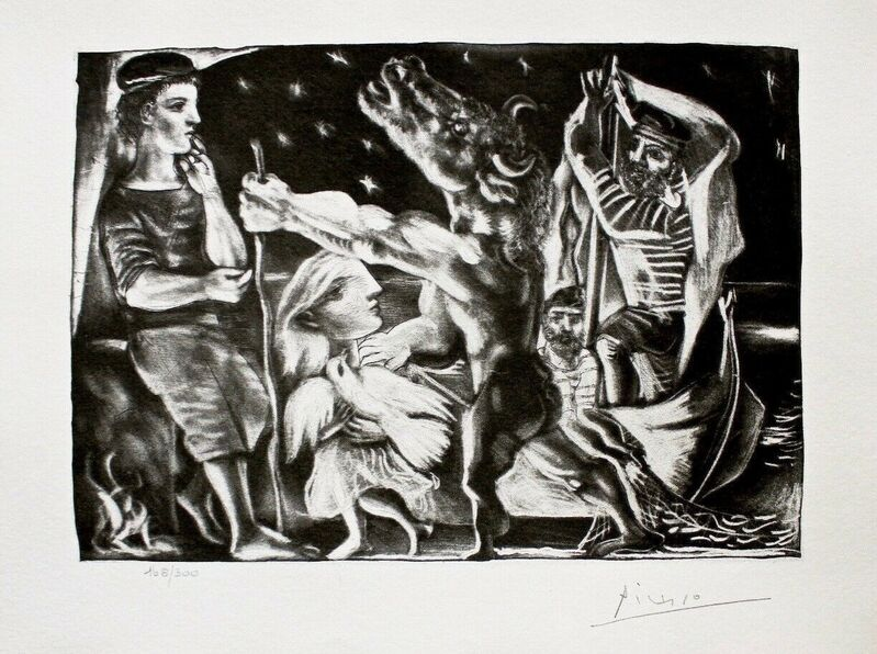 Pablo Picasso, 'Blind Minotaur Led by Girl in Night w/Dove', 1990, Reproduction, Lithograph on wove paper, Art Commerce
