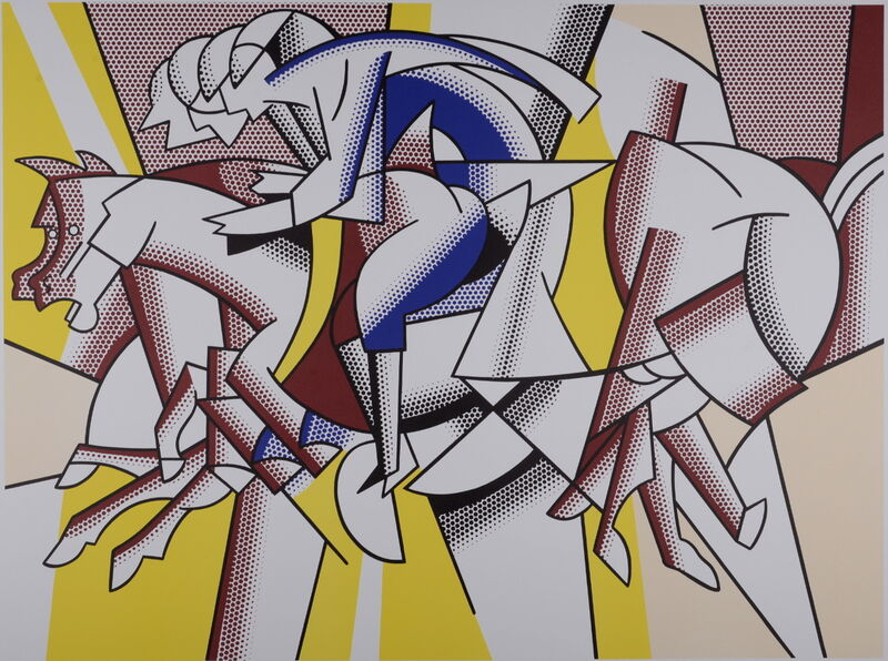 Roy Lichtenstein, ' The Equestrians for Los Angeles 1984 Olympic Games, 1982', 1982, Print, Offset Lithograph Parsons Diploma Parchment., NCAG