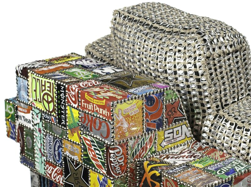 Benjamin Rollins Caldwell, 'Suicide Chair', 2012, Design/Decorative Art, Wood, Soda Cans, Can Tabs, Upholstery nails, Hemp String, Goose Down