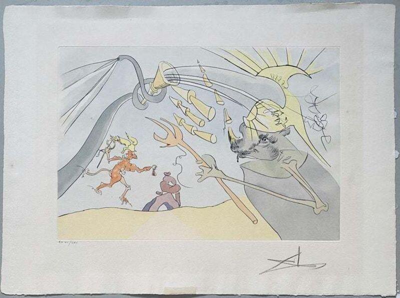 Salvador Dalí, 'l' Elephant et le Singe de Jupiter', 1974, Print, Color Print, Drypoint, Etching, Stencil, Lions Gallery