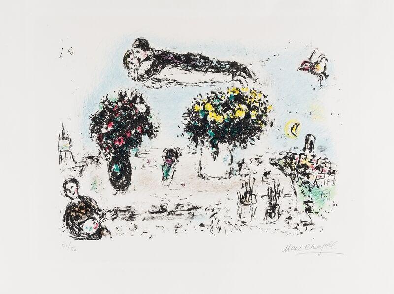 Marc Chagall, 'Le Peintre Aux Trois Bouquets (Mourlot 998)', 1982, Print, Lithograph printed in colours, Forum Auctions