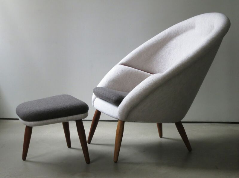 """Nanna and Jorgen Ditzel, '""""Oda"""" Lounge Chair and Ottoman', 1953, Design/Decorative Art, Upholstered in off-white and charcoal boiled wool, legs and arm rests of teak, Vance Trimble"""