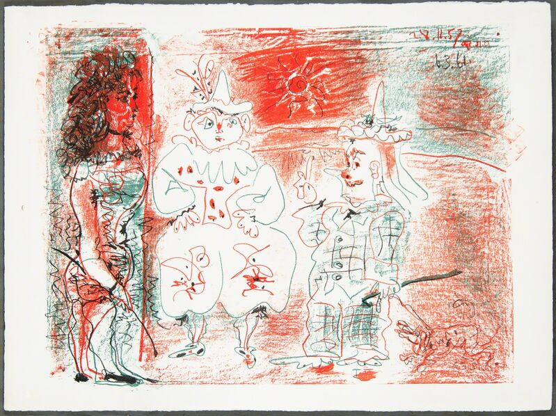 Pablo Picasso, 'L'ECUYÈRE ET LES CLOWNS (The Horsewoman and the Clowns)', 1961, Print, Original lithograph printed in three colors (red, green, black) on wove paper bearing the Arches block letter watermark., Christopher-Clark Fine Art